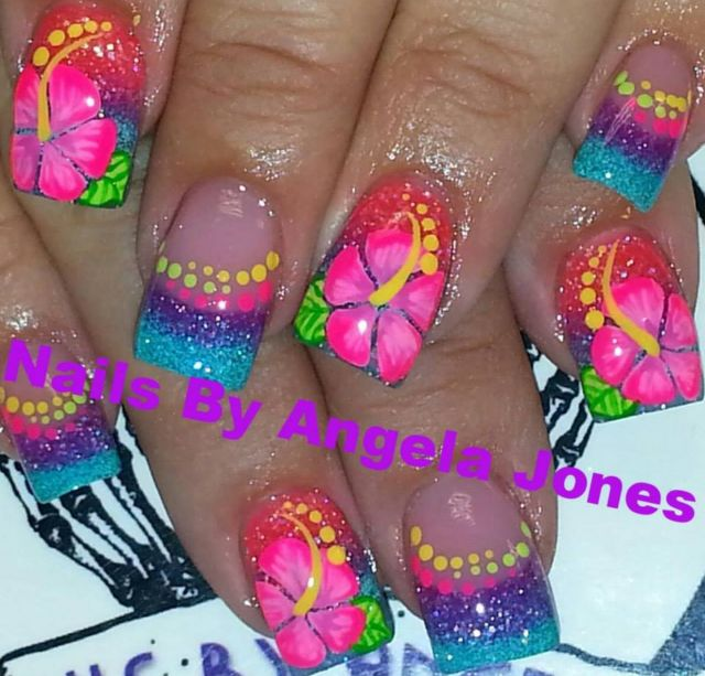 Nail art design ideas | nail art for summer | for short nails | #nailart | Acrylic nails by Angela Jones