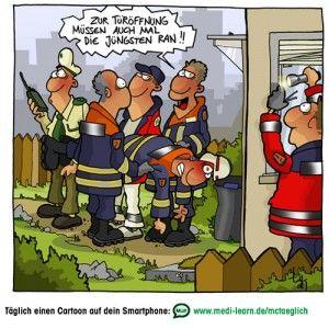 Tueroeffnung2_klein | Feuerwehr lustig, Lustige cartoons