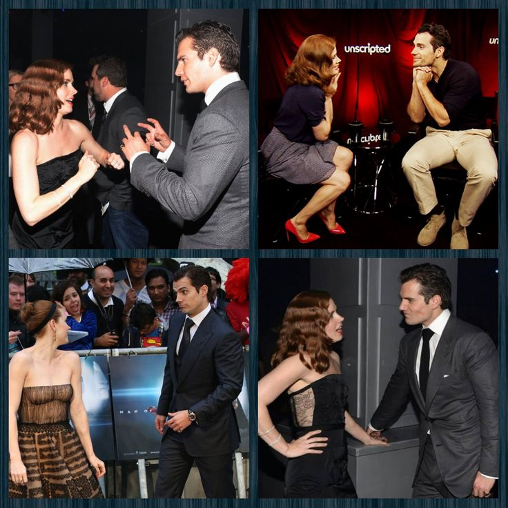 Sweet and silly moments caught between Henry Cavill and co-star/friend Amy Adams.