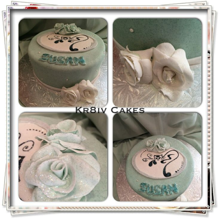 Happy birthday chocolate cake decorated in glittered fondant with edible roses  cat silhouette