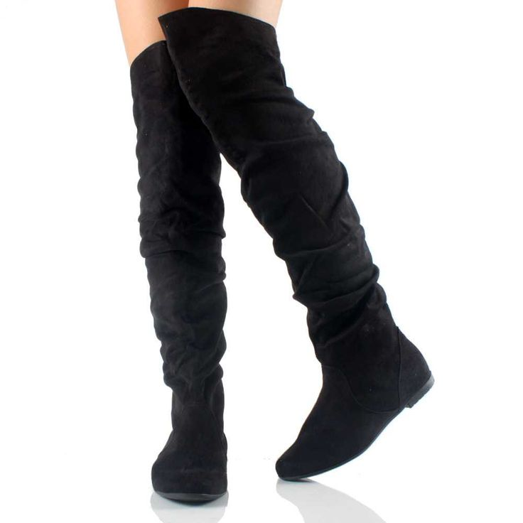 Over The Knee Suede Flat Boots - Cr Boot