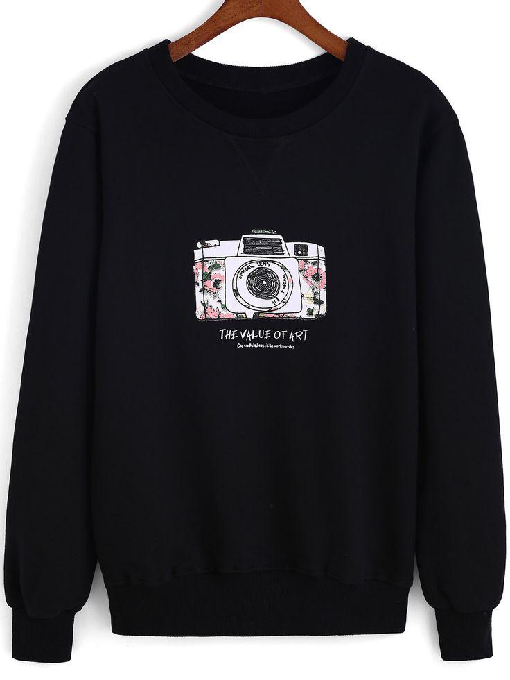 Black Round Neck Camera Print Loose Sweatshirt