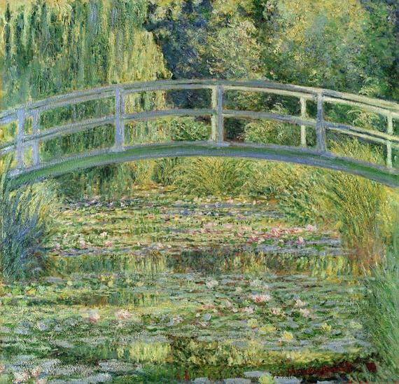 Claude Monet, 'The Water-Lily Pond' (1899). Tired of Paris, Monet left for Giverny in 1883. He was a passionate horticulturalist, and so built himself a water garden with a Japanese-styled arched bridge. Over the next 43 years he painted his water-lilies about 250 times, capturing subtle changes in the quality of light and colour. In this work he removes all banks and boundaries, giving the illusion of an endless whole and immersing us in his peaceful refuge. 25 Jun 2012