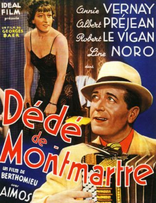 """DÉDÉ LA MUSIQUECe film a été tourné en 1939 par André Berthomieu. Il n'est sorti qu'en 1942 sous le titre """"Dédé la musique"""". Paris 1939. Montmartre carrefour du vice et du plaisir, c'est là qu'un mauvais garçon « Dédé de Montmartre » ancien roi de l'accordéon, est touché par le charme ingénu d'une midinette. Son idylle est tragiquement rompue par la trahison d'un soi-disant ami et la jalousie d'une ancienne maîtresse."""
