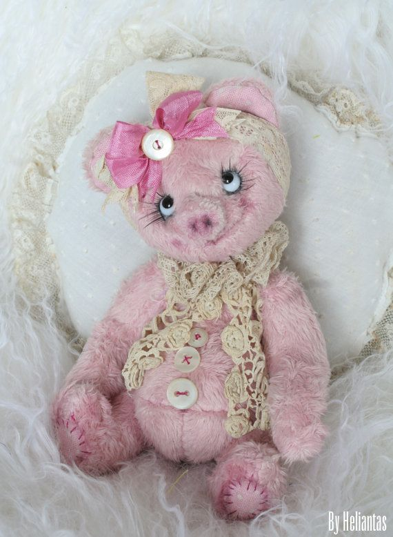 Ooak Handmade spring's plushes: Miss Piggyline the by heliantas