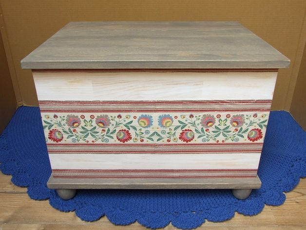 Drewniana Ludowa Skrzynia Kufer Retro Etno Folk, wooden crate, wooden box, chest