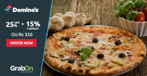 Mid-Week Crisis Solved With #Dominos. Get Flat 25% Off + 15% #Cashback. http://www.grabon.in/dominos-coupons/ #SaveOnGrabOn