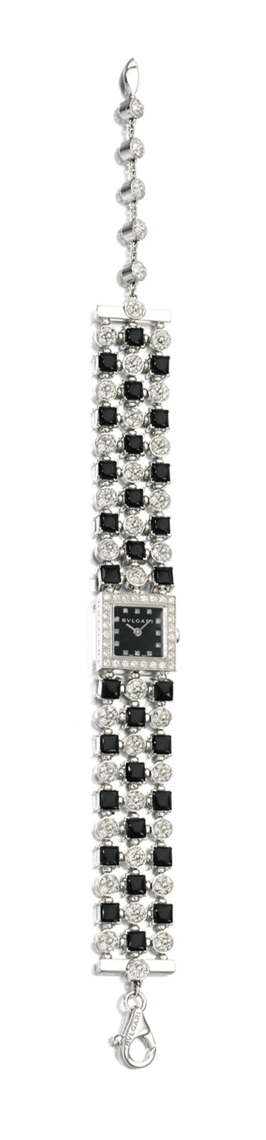 ONYX AND DIAMOND WRISTWATCH, 'LUCEA', BULGARI.  The square dial applied with diamond dot indicators framed with a  brilliant-cut diamond set bezel, to a bracelet of square onyx and brilliant-cut diamond set circular links, length approximately 200mm, signed Bulgari Lucea and numbered.