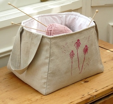 Linen Storage Basket - inspiration.  I wonder how hard it would be to draft a pattern for something like this ...