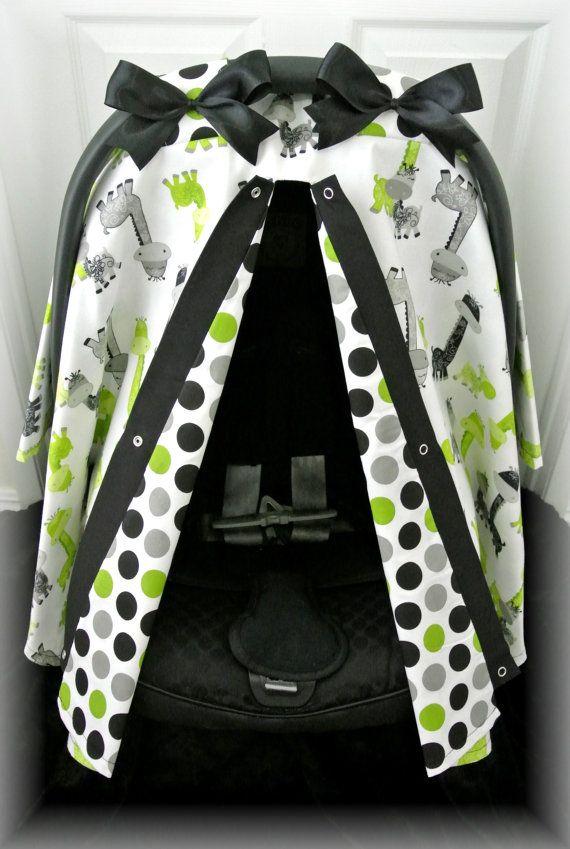 car seat canopy, car seat cover, lime green, grey, polka dot, giraffe, chevron, baby car seat, infant girl, baby girl, baby boy, infant boy