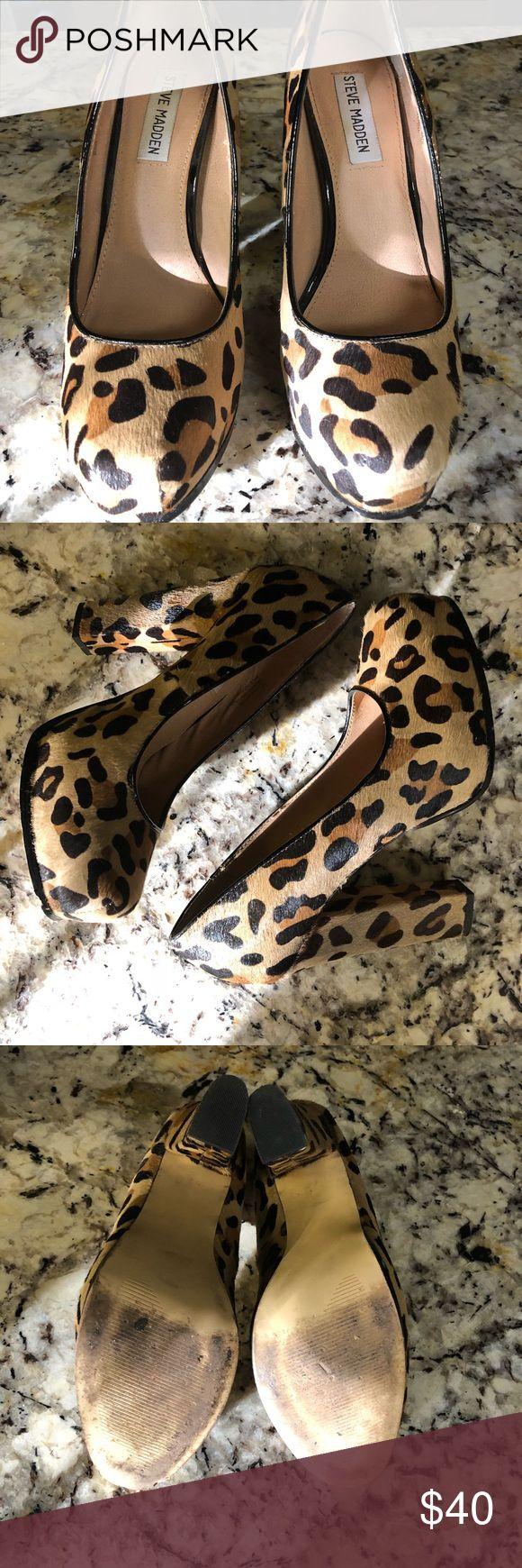 Steve Madden leopard cheetah print hair platform Animal print high heels, platform, block heel. Worn a couple of times. Leather Steve Madden Shoes Platforms