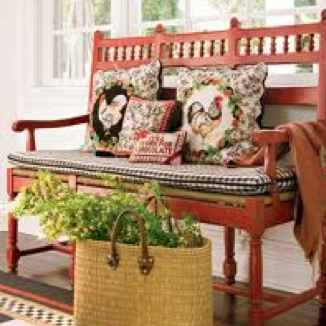 Country French Red Bench Country Red Barn House Pinterest