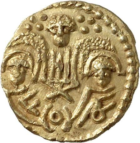Anglo-Saxon gold shilling, c. 660, two emperors coin.