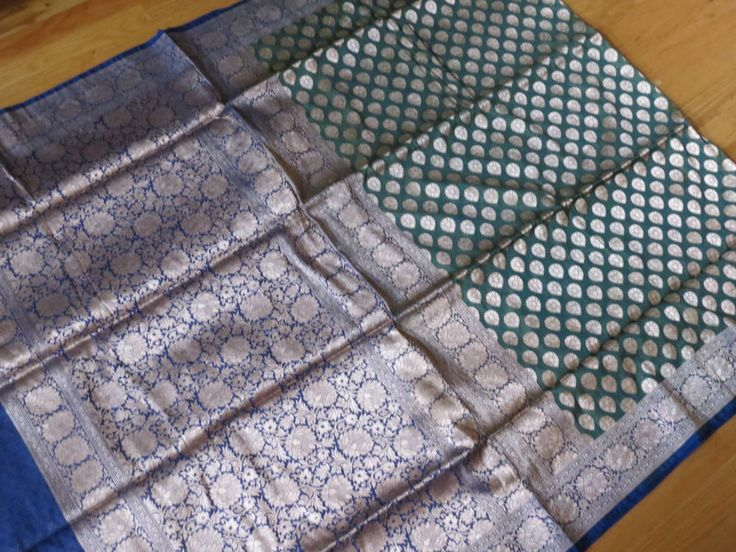 Half half Deheri Silk Katan in Olive green and  and Navy Blue  with all over han…