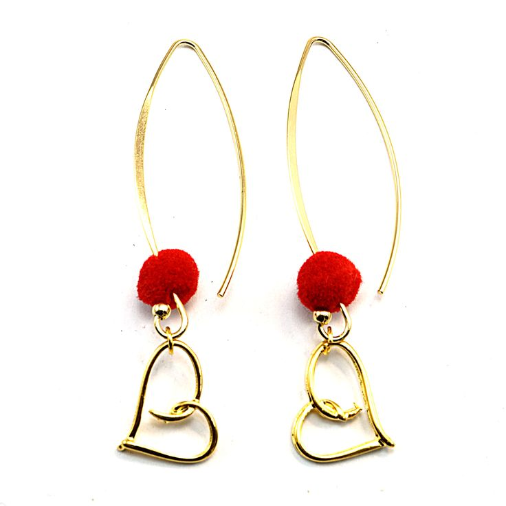 Excited to share the latest addition to my #etsy shop: Long heart earrings with pom pom, Earrings for women, Gift for women http://etsy.me/2DfdlgM #jewelry #earrings #heart #women #boho #forwomen #bohemian #longearrings #bohojewelry