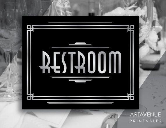 Art Deco Restroom Printable Sign, Gatsby Wedding, Roaring Twenties Party Decor, Art Deco Party Supplies - Black and Silver - ADBS1