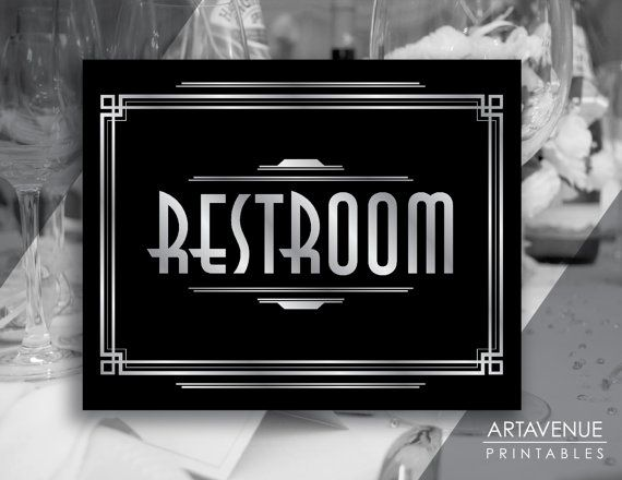 Art Deco Restroom Printable Sign, Gatsby Wedding, Roaring Twenties Party Decor, Art Deco Party Supplies - Black and Silver - ADBS1
