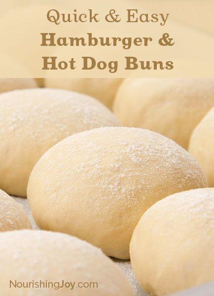 Quick and Easy Hamburger and Hot Dog Buns - NourishingJoy.com