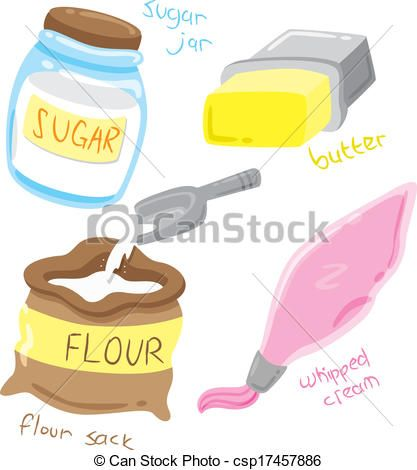 Vector - baking ingredients - stock illustration, royalty free ...