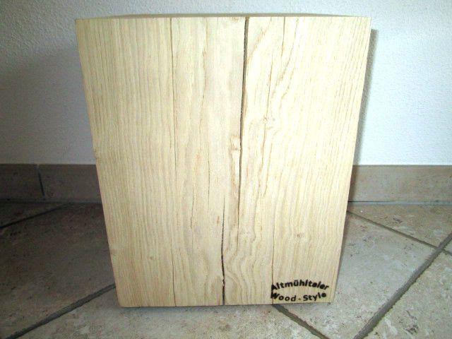 Nr.96, Eiche, 29,5 x 29,5 x 37,5cm Holzsäule, Hocker, Säule Holz, geschliffen