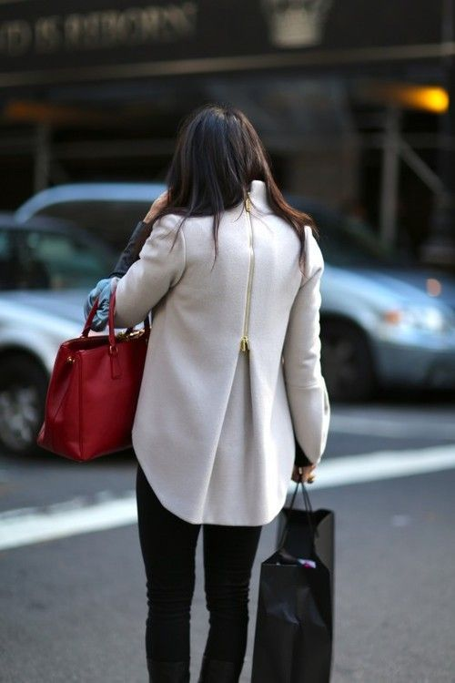Great Coat. Fashion. Woman. Clothing. Slim. Cut. Beauty. Street. Style. Modern. Outfit. Slim. Cut. Fit. Black & White. Material. Matching. On the Go. Bags. Dark. City. Rush. Cute. Fresh. Trend. Zipper. Details. Golden.