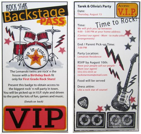 32 best images about Birthday Party Ideas Rock Roll on – Rock and Roll Party Invitations