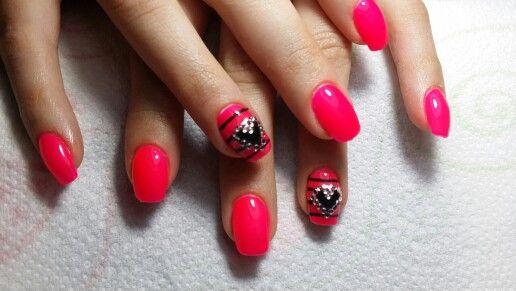 Nail#fluo##summer##strass#lovenails#