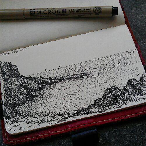 Talland Bay drawn in my moleskin on our last day #sketchbook #moleskin www.lorriewhittington.co.uk