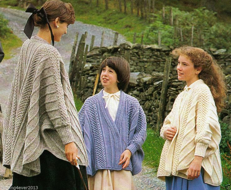 MUM & DAUGHTERS MATCHING LONG CAPE ARAN JACKETS 66-94 CMS 8 PLY KNITTING PATTERN
