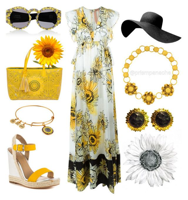 Sunflower Sunday ☀️ #OpeningCeremony Round Sunglasses // #BUCOhandbags Sunflower Beach Tote // #AlexandAni Sunflower Charm Bangle Bracelet // #NicoleMiller Sunflower Silver Wedges // #No21 Sunflower Print #MaxiDress // Black Wide Brim #FloppyHat // Gold Sunflower Motif #StatementNecklace // French Happy #SunEarrings // #sunflower #flowerpower #springstyle #springfashion #spring2016 #ss16 #bohochic #bohobabe #hippiechic #prismpanache @prismpanache