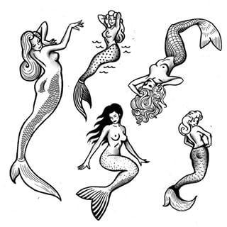 pin up mermaid tattoo - Google Search
