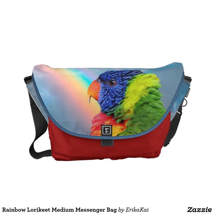 Rainbow Lorikeet Parrots Medium Rickshaw Messenger Bag. Water resistant, extra durable. Interior and binding 20 color options.