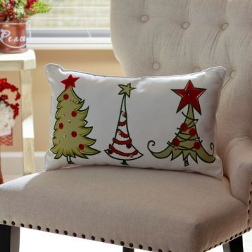 Christmas Tree Whimsy Accent Pillow maybe I can paint this on a pillow case?