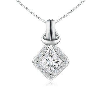 Angara Princess-Cut Enhanced Black Diamond Love Knot Pendant S0JS7cm