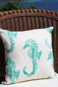 Vanilla Turquoise Seahorse Beach Decor Pillow