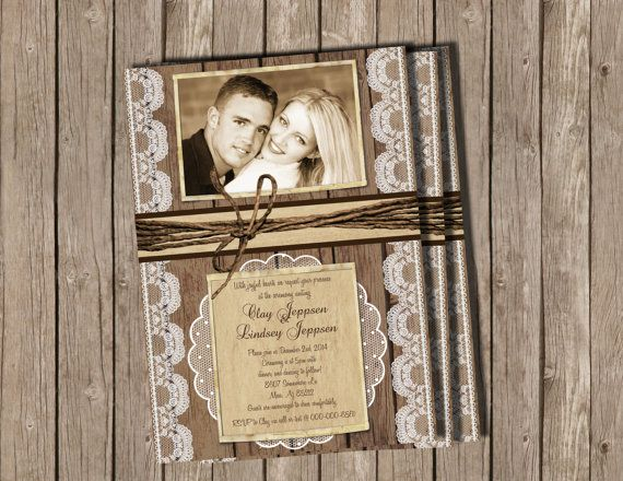 I liked the lace border here.  Wedding Invitation Rustic Wood and Lace by MissBlissInvitations, $15.00