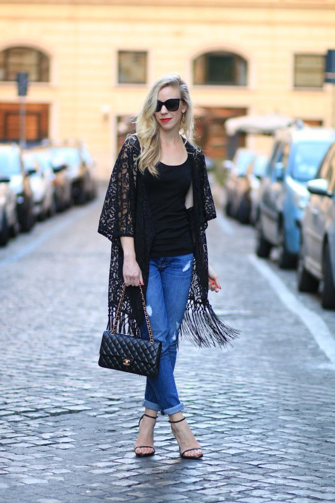 On the Fringe: black lace kimono, 7 For All Mankind 'Josefina' boyfriend jeans, Stuart Weitzman 'Nudist' stiletto sandals, Chanel medium classic flap bag black with gold hardware, fringe kimono outfit