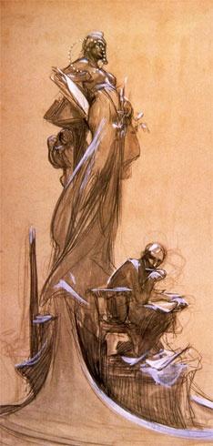 Drawing by Alphonse Mucha