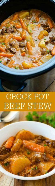 The most delicious beef stew ever slow cooked in the crock pot. It will be your new favorite!!