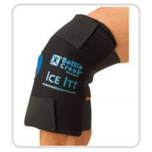 "Ice It! ColdComfort System - Knee -   Ice It! ColdCOMFORT Knee therapy system is an articulated design that surrounds the entire knee for maximum therapeutic benefit. Comfortable secure fit lets you relax or allows you to continue activities during therapy sessions. Includes 12"" x 13"" fabric holster with elastic and Velcro straps and two 6"" x 12"" cold packs. Pack stays flexible when fully frozen to mold around painful area. Pack quickly reaches freezing temperature."