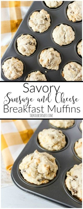Yum! These freezer friendly sausage and cheese breakfast muffins are my favorite quick breakfast for busy mornings!