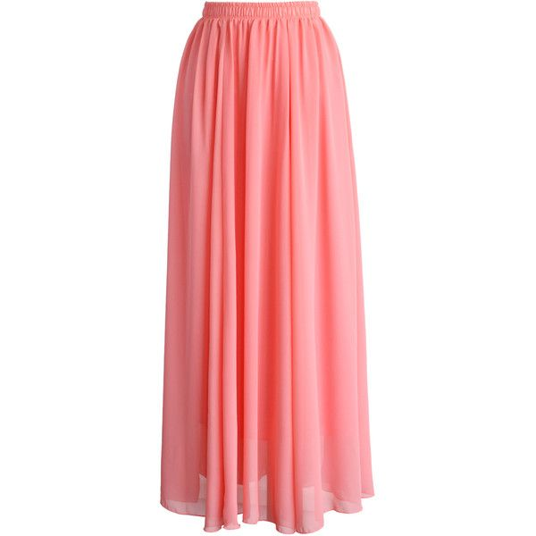 Chicwish Candy Pink Chiffon Maxi Skirt (53 AUD) ❤ liked on Polyvore featuring skirts, bottoms, saias, pink, pleated skirt, maxi skirt, long pleated chiffon skirt, long skirts and red maxi skirt