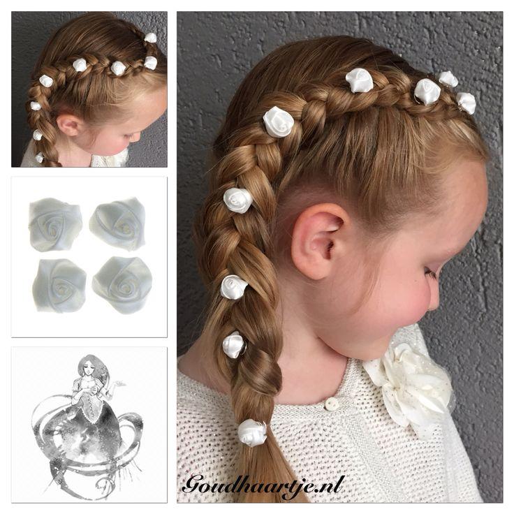 Side braid with hairaccessories from Goudhaartje.nl  #sidebraid #braid #hairstyle #hairflower #rose #curlies #hairaccesories #dutchbraid #vlecht #haarstijl #roos #haaraccessoires #goudhaartje
