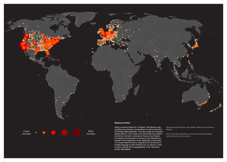 "a map that shows who searches google for ""zombies the most"