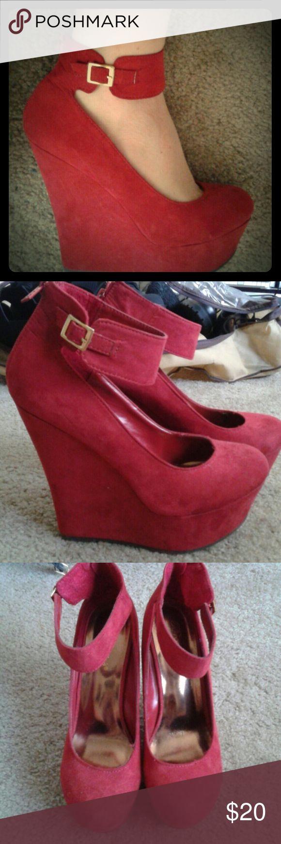 Red Platform Wedge Pumps Ankle strap 6 inch platform pumps. Worn once. Zipper back. Breckelles Shoes Platforms