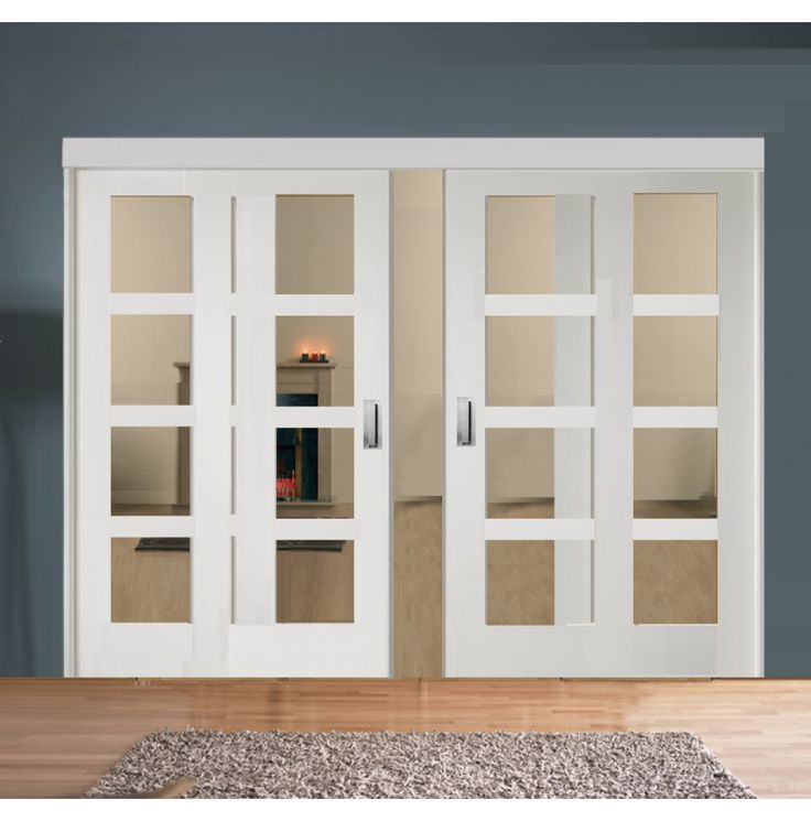 Sliding Room Divider With White Shaker Clear Glazed Doors