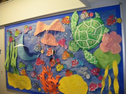 The early years corridor had a under and over the sea theme