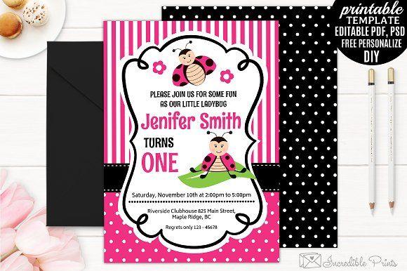 Ladybug Girl Birthday Invitation by Incredible Prints on @creativemarket