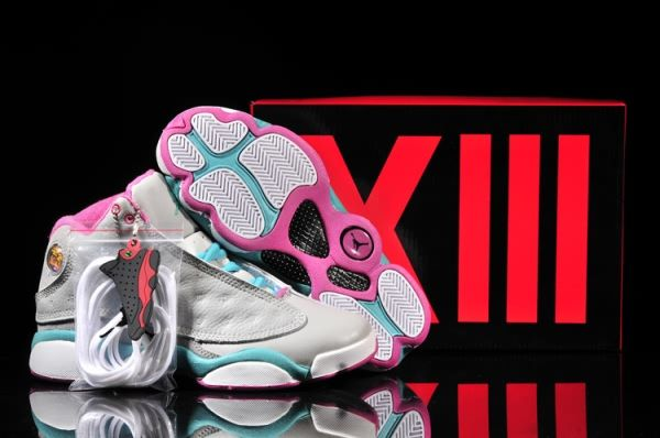 Pink Jordan Shoes   2014 Air Jordan Retro 13 Shoes Womens Grey Pink Moon 504381