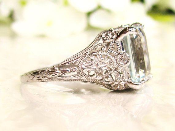 Vintage Art Deco Filigree Engagement Rings